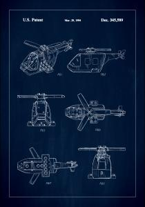 Patent Print - Lego Helicopter - Blue Juliste