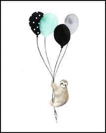 Sloth With Balloons Juliste
