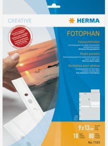 Herma Valokuvataskut 9x13 cm Pysty - 10-pakkaus Valkoinen