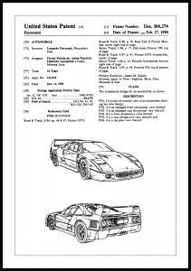 Patentti Piirustus - Ferrari F40 I Juliste