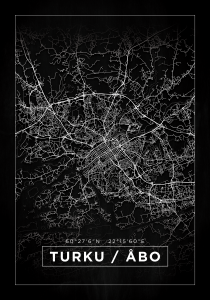 Kartta - Turku / Åbo - Musta Juliste
