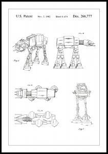 Patenttipiirustus - Star Wars - Walker - Valkoinen Juliste