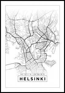 Kartta - Helsinki - Valkoinen Juliste