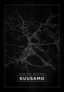 Kartta - Kuusamo - Musta Juliste