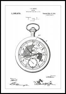 Patenttipiirustus - Taskukello - Valkoinen Juliste
