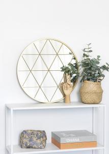 KAILA Pyöreä Peili Triangles - Kullanvärinen 55 cm Ø