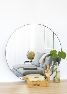 KAILA Round Mirror - Thin Black 80 cm Ø