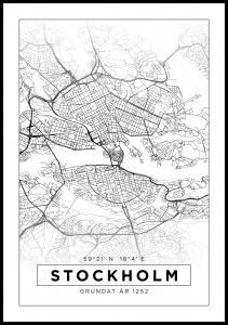Kartta - Stockholm - Valkoinen Juliste