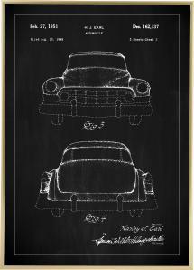 Patentti Piirustus - Cadillac II - Musta Juliste
