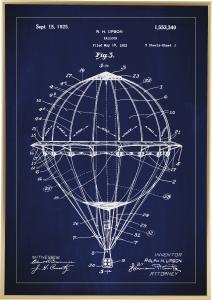 Patenttipiirustus - Kuumailmapallo - Sininen Juliste