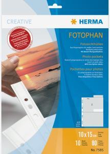 Herma Valokuvataskut 10x15 cm Pysty - 10-pakkaus Valkoinen