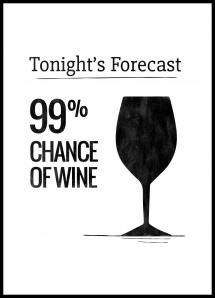 Tonights Forecast 99% Chance of Wine Juliste