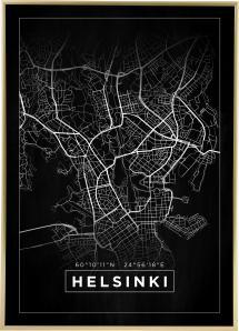 Kartta - Helsinki - Musta Juliste