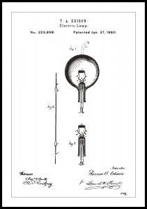 Patenttipiirustus - Lamppu B - Valkoinen Juliste