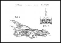 Patentti piirustus - Batman - Batmobile 1996 I Juliste