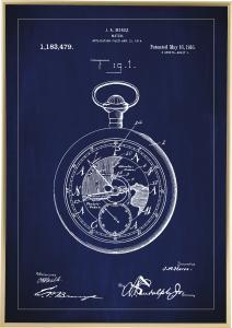 Patenttipiirustus - Taskukello - Sininen Juliste