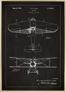Patenttipiirustus - Lentokone - Musta Juliste