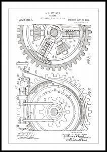 Patenttipiirustus - Hammasratas - Valkoinen Juliste