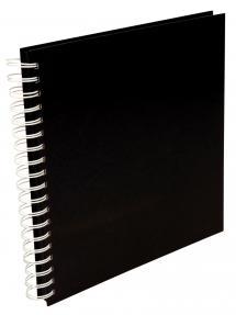 Neliönmuotoinen Kierrevalokuva-albumi Musta -25x25 cm (80 Mustaa sivua / 40 leh