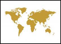 Maailmankartta - Kullanvärinen Juliste