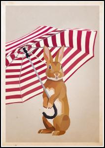 Rabbit with Umbrella Juliste