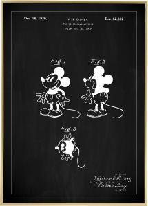 Patentti Piirustus - Disney - Mickey Mouse - Musta Juliste