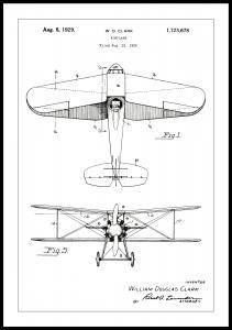 Patenttipiirustus - Lentokone - Valkoinen Juliste
