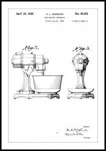 Patentti Piirustus - Keittiökone II Juliste