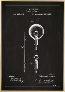 Patenttipiirustus - Lamppu B - Musta Juliste
