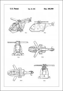 Patent Print - Lego Helicopter - White Juliste