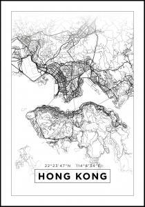 Kartta - Hong Kong - Valkoinen Juliste
