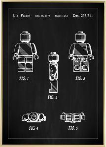 Patentti Piirustus - Lego I - Musta Juliste