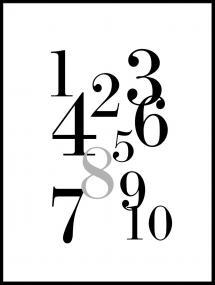 1-10 - Musta/Harmaa Juliste