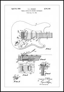 Patent Print - Tremolo Device - White Juliste