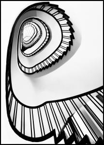 Spiral stairs BW Juliste
