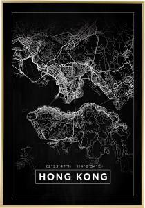 Kartta - Hong Kong - Musta Juliste