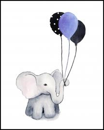Elephant With Balloons Juliste