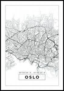 Kartta - Oslo - Valkoinen Juliste