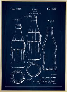 Patentti Piirustus - Coca Cola Pullo - Sininen Juliste
