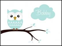 Owl Name Poster Turquoise